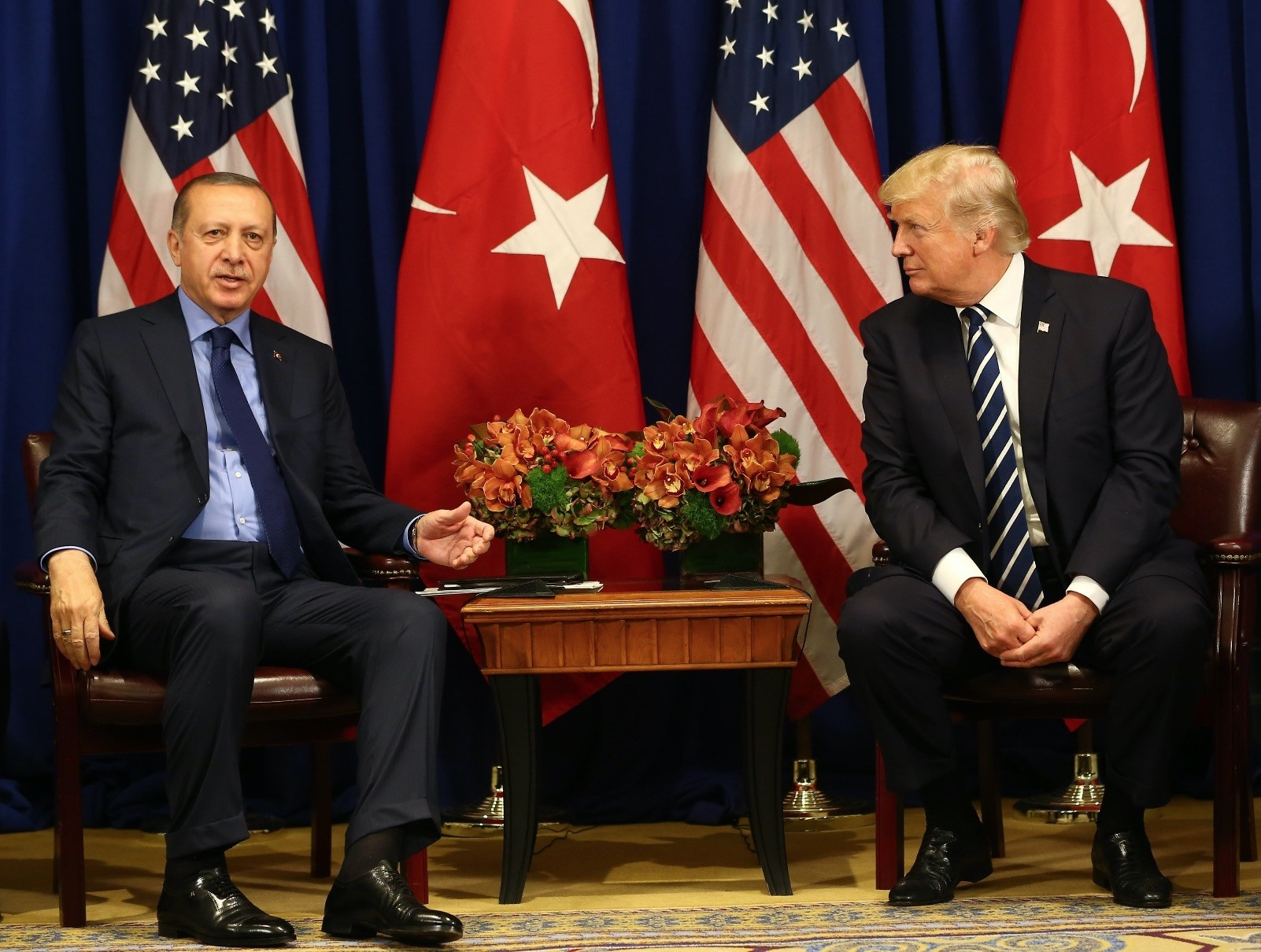 President Erdou011fan with U.S. President Donald Trump during a meeting at the Palace Hotel during the U.N. General Assembly, New York, Sept. 21, 2017.