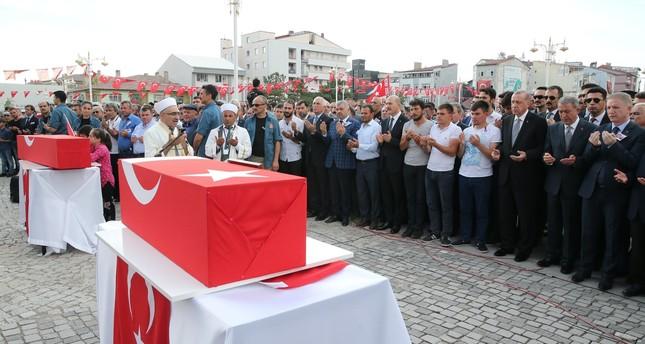 President Recep Tayyip Erdoğan attends the funeral of Nurcan Karakaya and her 11-month-old son, Mustafa Bedirhan Karakaya, who were killed in a roadside bombing by the PKK in the southeastern province of Hakkari, July 2, 2018.