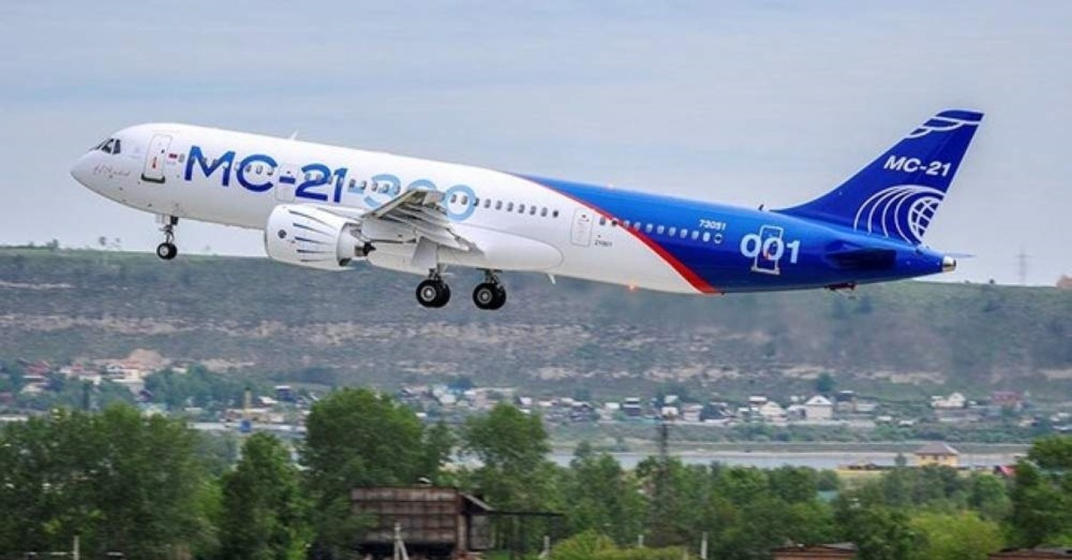 An MS-21 medium-range passenger plane takes off in Irkutsk, Russia, May 28, 2017. (Reuters Photo)