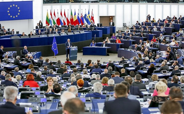 A handout photo made available by the European Parliament on September 13, 2017 shows European Commission President Jean-Claude Juncker chairing key debate on the State of the Union 2017 at the European Parliament in Strasbourg, France. (EPA Photo)