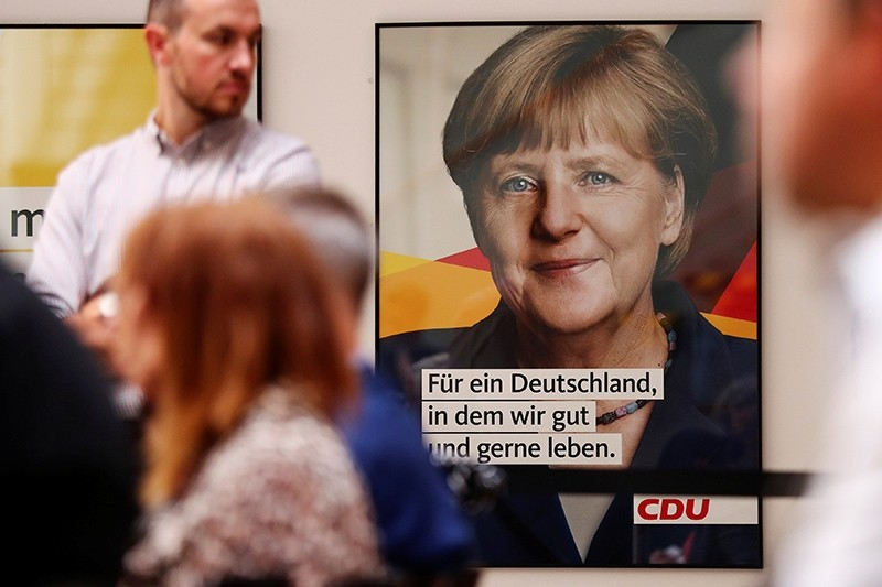 The party Christian Democratic Union (CDU) presents a new poster for the upcoming election campaign with a headshot of German Chancellor Angela Merkel in Berlin, Germany August 7, 2017.  (Reuters Photo)