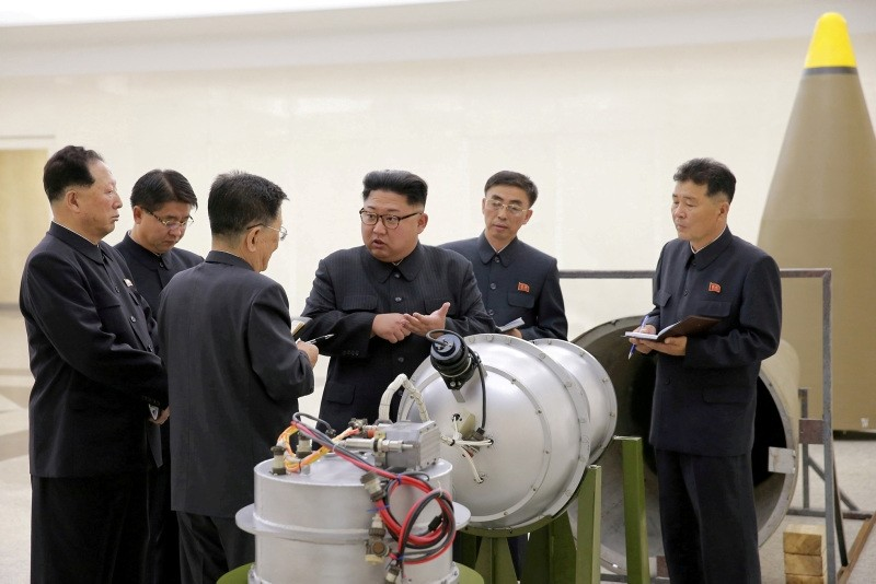 North Korean leader Kim Jong Un provides guidance on a nuclear weapons program in this undated photo released by North Korea's Korean Central News Agency (KCNA) in Pyongyang Sept. 3, 2017. (KCNA via Reuters)