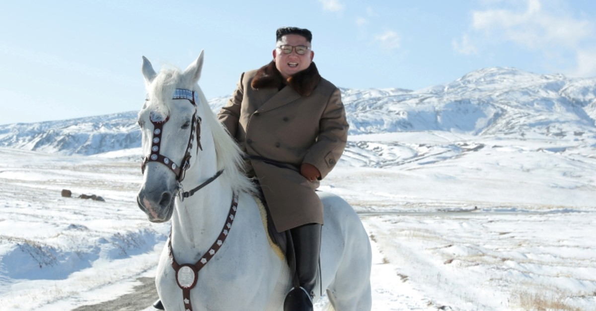 North Korean leader Kim Jong Un rides a horse during snowfall in Mount Paektu in this image released by North Korea's Korean Central News Agency (KCNA) on Oct. 16, 2019. (KCNA via Reuters)