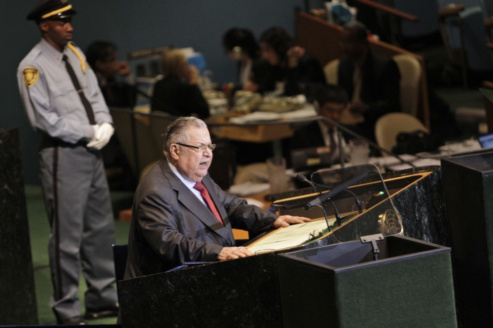 Then Iraqi President Jalal Talabani speaks during the 66th session of the U.N. General Assembly, Sept. 23, 2011.