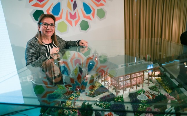 Trade Minister Ruhsar Pekcan stands by the model of the Turkish pavilion to be installed at this year's Beijing International Horticultural Exhibition, April 12, 2019.