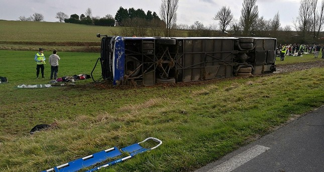 The scene showing bus accident is seen in Manciet, France, January 25, 2018 in this picture obtained from social media. Photo courtesy of Police Municipale Doeauze