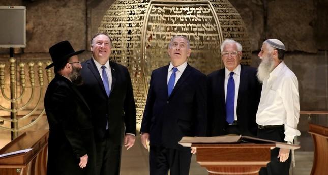 Israeli Prime Minister Benjamin Netanyahu, U.S. Secretary of State Mike Pompeo and U.S. Ambassador to Israel David Friedman visit the Western Wall Tunnels in Jerusalem's Old City, March 21, 2019. (Reuters Photo)