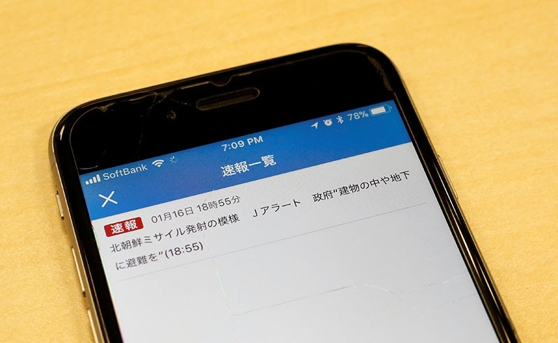 Japan's public broadcaster NHK's false alarm about a North Korean missile launch which was received on a smart phone is pictured in Tokyo, Japan Jan. 16, 2018. (Reuters Photo)