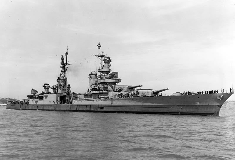 In this July 10, 1945, photo provided by U.S. Navy media content operations, USS Indianapolis (CA 35) is shown off the Mare Island Navy Yard, in Northern California (AP Photo)