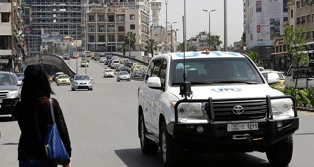 عربة تابعة للأمم المتحدة في دمشق (من الأرشيف)
