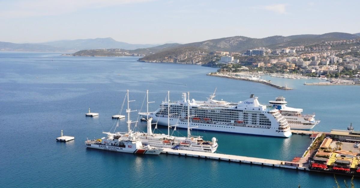 Three giant cruise ships docked at Ege Port in Kuu015fadasu0131, Sept. 24, 2019.