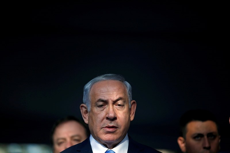 Israel's Prime Minister Benjamin Netanyahu attends a memorial ceremony for the late prime minister Yitzhak Rabin at Mount Herzl military cemetery in Jerusalem, November 1, 2017. (Reuters Photo)