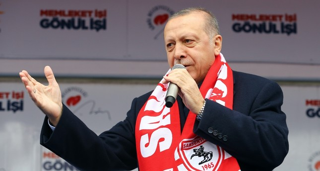 President Recep Tayyip Erdoğan delivering a speech in northern Samsun province, March 3, 2019.
