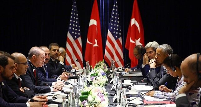 President Recep Tayyip Erdoğan and U.S. President Barack Obama making a brief statement following a closed-door meeting ahead of the G20 Summit in China, September 4, 2016 (AA Photo)