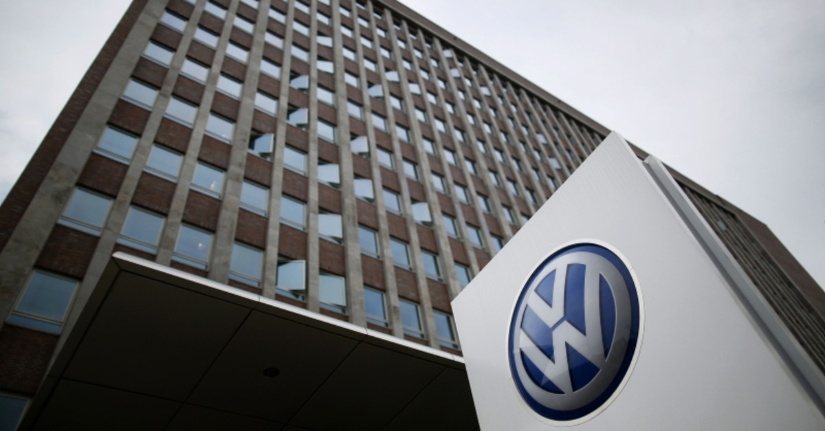 In this file photo taken on May 19, 2017 the logo of German car maker Volkswagen (VW) stands outside the main administrative building of the Volkswagen brand at VW plant in Wolfsburg, central Germany. (AP Photo)