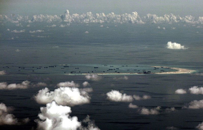 A file picture shows an areal view of alleged artificial islands built by China in disputed waters in the South China Sea.
