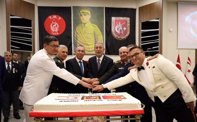 "National Defense Minister Hulusi Akar attends a reception at the Veteran Officer's Club due to the ""Aug. 1 Social Defiance Festival"" celebrated as the TRNC Armed Forces Day, August 1, 2019."