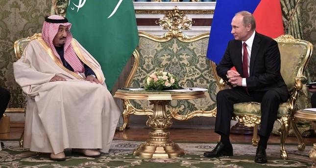 Russian President Vladimir Putin (R) and Saudi King Salman bin Abdulaziz Al Saud (L) meet in the Kremlin, Moscow.