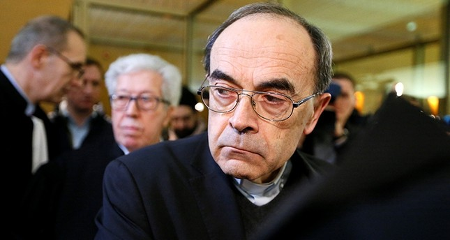 Cardinal Philippe Barbarin, Archbishop of Lyon, arrives to attend his trial, charged with failing to act on historical allegations of sexual abuse of boy scouts by a priest in his diocese, at the courthouse in Lyon, Jan. 7, 2019. (Reuters Photo)