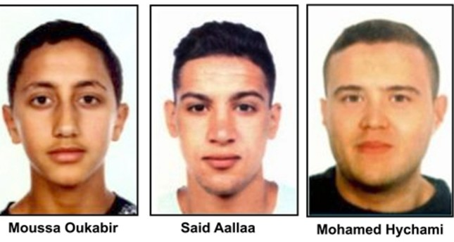 A handout composite photo shows (L-R) Moussa Oukabir, the suspected driver, as well as Said Aallaa, Mohamed Hychami and Younes Abauyaaqoub, who are suspects wanted in connection with the 17 August terrorist attacks in Barcelona and Cambrils