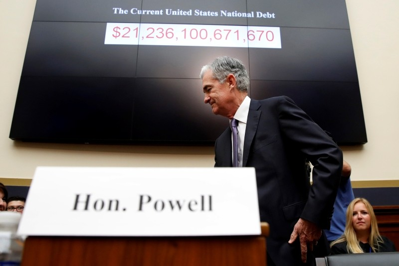 n this July 18, 2018, file photo Federal Reserve Board Chair Jerome Powell arrives to testify at a House Committee on Financial Services hearing on Capitol Hill in Washington. (AP Photo)
