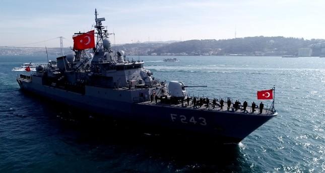 Sailors of Turkish frigate TCG Yıldırım salute the tomb of Ottoman sailor Barbaros Hayreddin as they are crossing the Bosporus, on March 9, 2019. DHA Photo