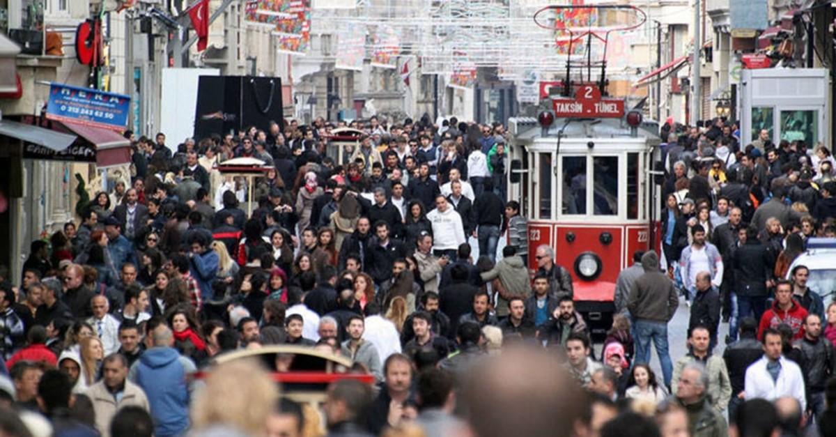 People walk through Istanbul's crowded iconic streets on u0130stiklal Avenue, Taksim.