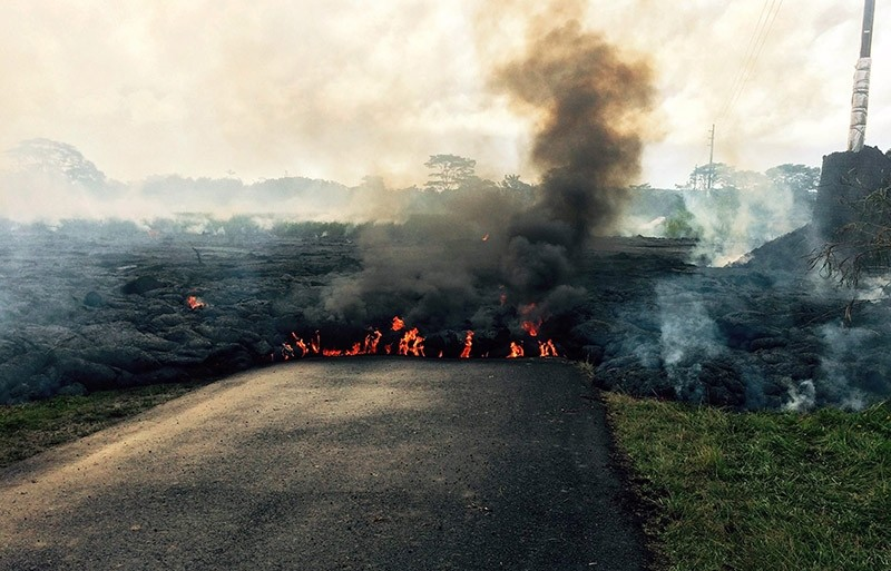In this Oct. 24, 2014 photo from the U.S. Geological Survey, the lava flow from Kilauea Volcano is seen near the town of Pahoa on the Big Island of Hawaii. (AP Photo)