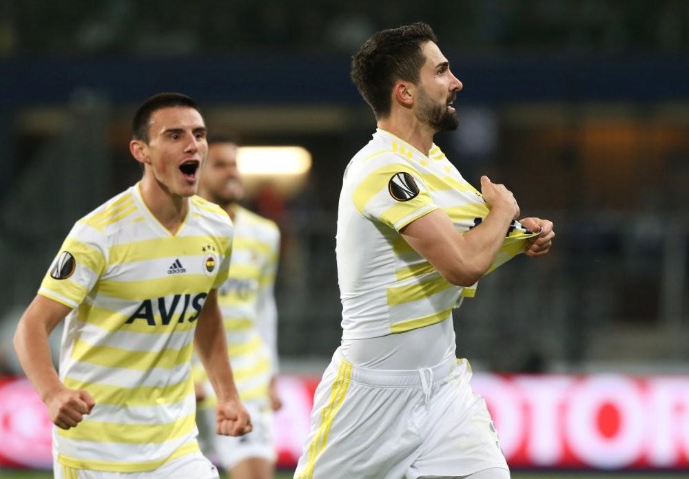 Fenerbahu00e7e's Hasan Ali Kaldu0131ru0131m celebrates scoring their second goal with Eljif Elmas during the match against Anderlecht on Oct. 25.