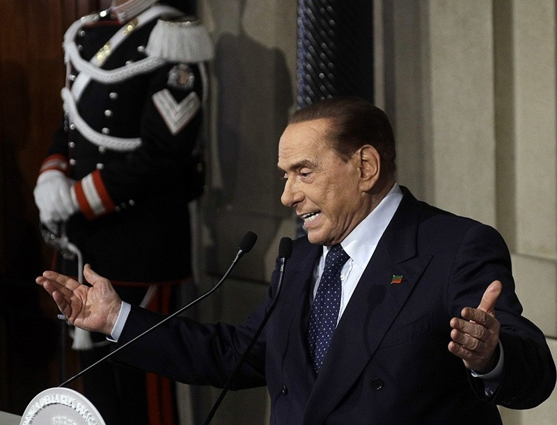 In this file photo dated Thursday, April 12, 2018, Forza Italia party's leader Silvio Berlusconi addresses journalists at the Quirinale presidential palace in Rome.  According to Milan daily Corriere della Sera reporting May 12, 2018. (AP Photo)