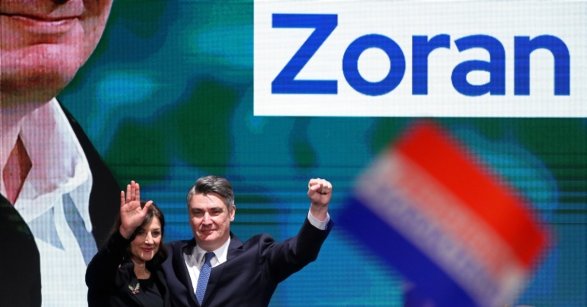 Presidential candidate Zoran Milanovic and his wife Sanja Music Milanovic spear on stage at his campaign headquarters after the presidential election in Zagreb, Croatia December 22, 2019. (Reuters Photo)