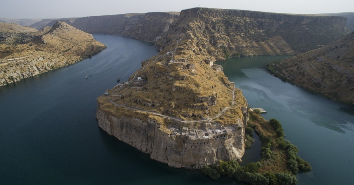 Rumkale is situated on the junction of the Euphrates River and the Merzimen stream, surrounded by the emerald green lake on three sides and hills with steep rocks.