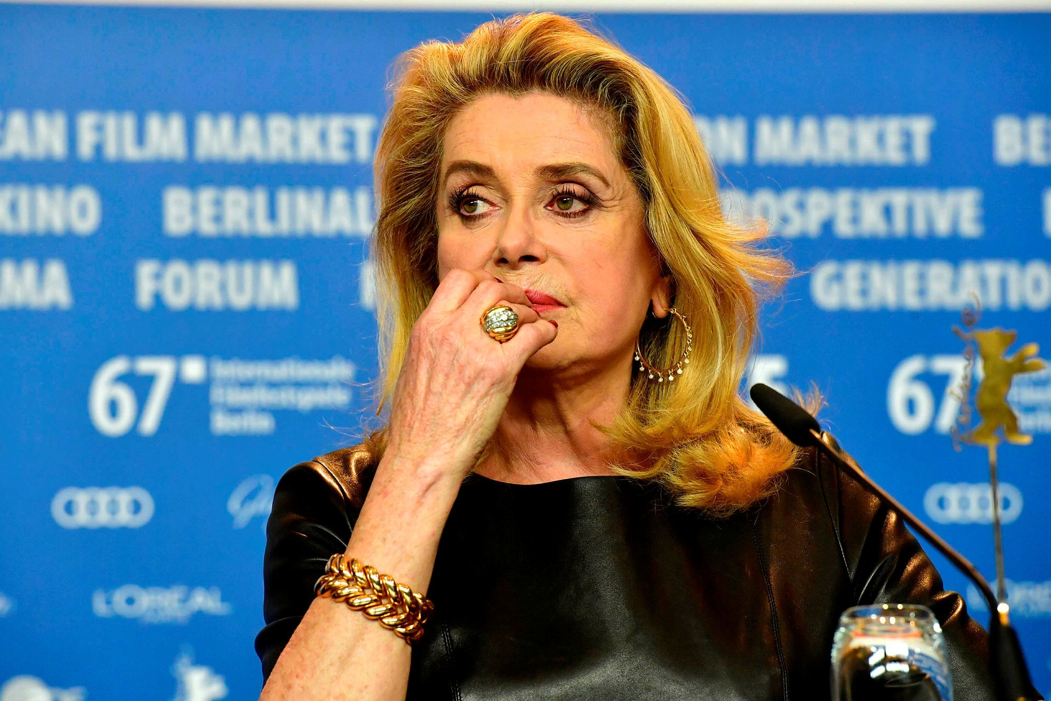 This file photo taken on February 14, 2017 shows French actress Catherine Deneuve attending a press conference for the film ,Sage Femme, (The Midwife) in competition at the 67th Berlinale film festival in Berlin. (AFP Photo)