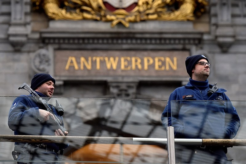 Belgian police officers patrol in the central station, in Antwerp, Belgium March 3, 2017.  (Reuters Photo)