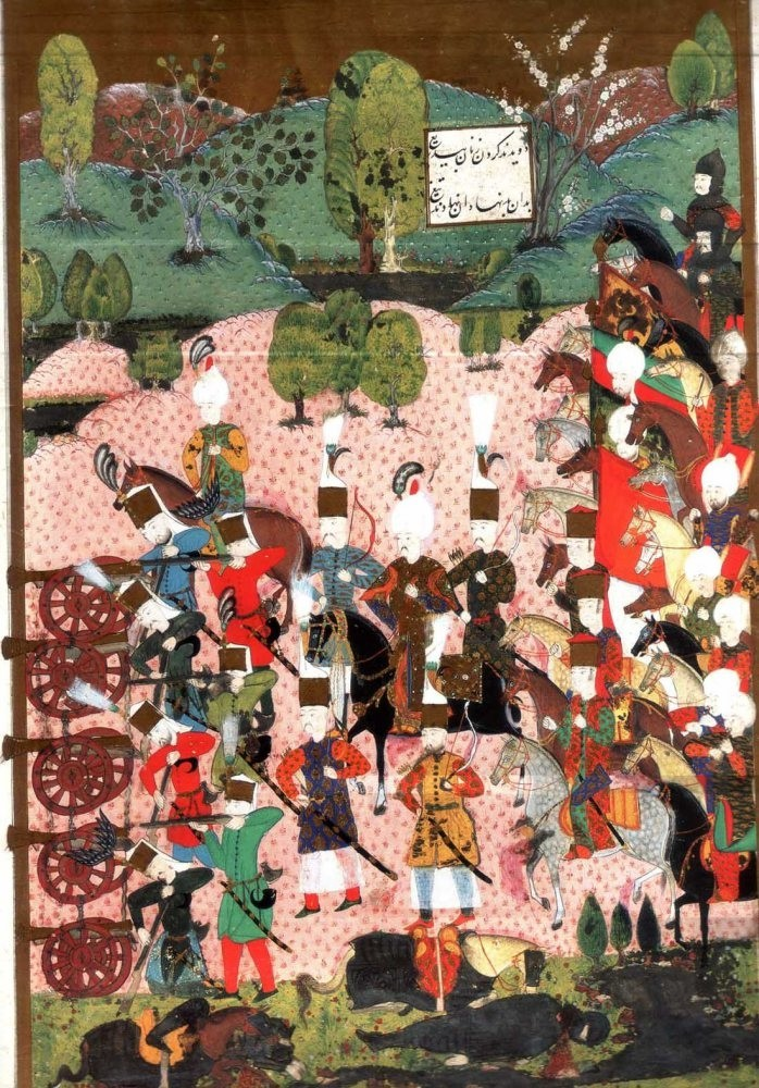 An Ottoman miniature depicts Ottoman janissaries at the Battle of Mohacs in 1526.