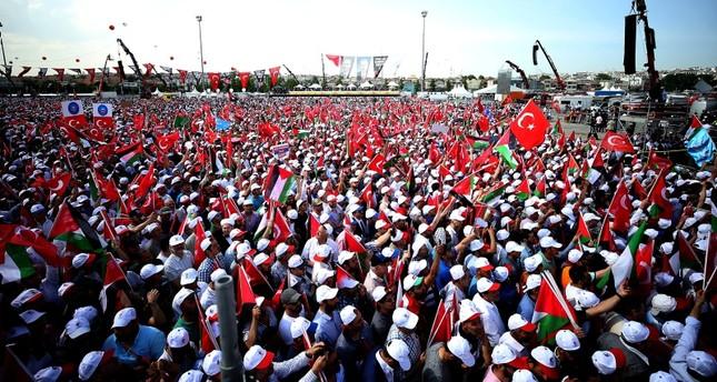 عشرات الآلاف يشاركون في تجمّع دعم القدس في إسطنبول