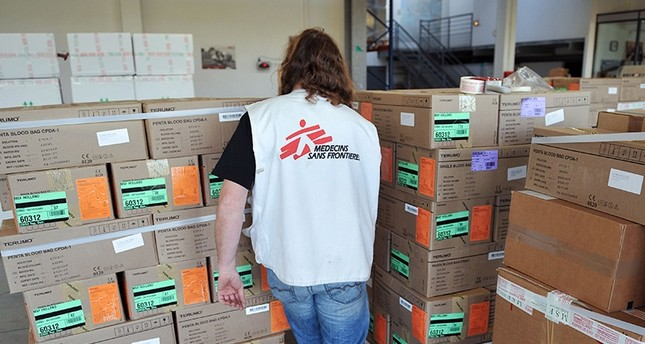 In this file photo taken on January 13, 2010 a member of  French association Medecins sans frontieres (Doctors Without Borders) is seen at the association logistics hub in Bordeaux-Merignac. (AFP Photo)
