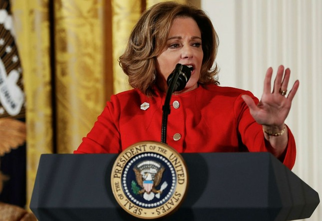 Deputy National Security Adviser K.T. McFarland speaks at the Women's Empowerment Panel, at the White House in Washington on March 29. AP Photo