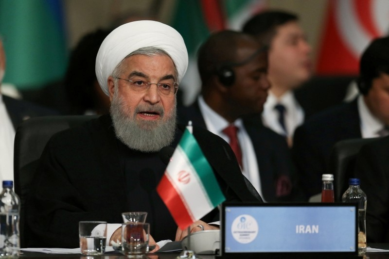 Iran's President Hassan Rouhani speaks during an extraordinary meeting of the Organisation of Islamic Cooperation (OIC) in Istanbul, Turkey May 18, 2018. (Reuters Photo)