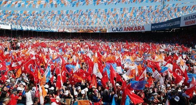 President Recep Tayyip Erdoğan  (not pictured) addresses to people in Ankara.