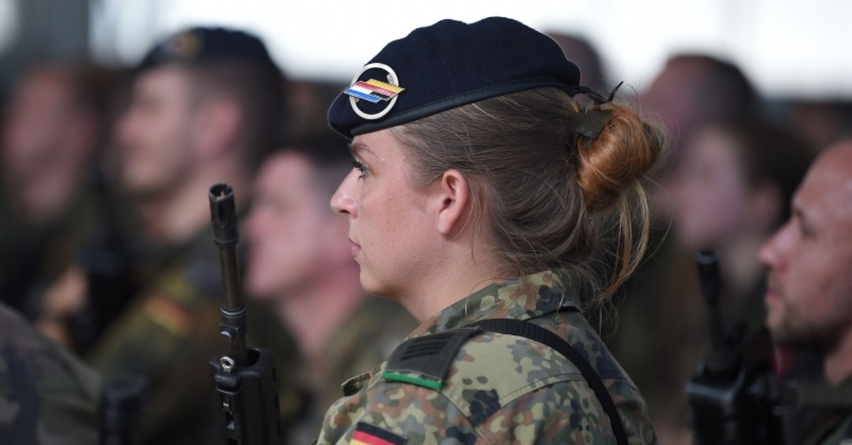 A soldier takes part in a military rehearsal with other members of the Franco-German Brigade in Meyenheim, Germany, July 2, 2019. (AFP Photo)