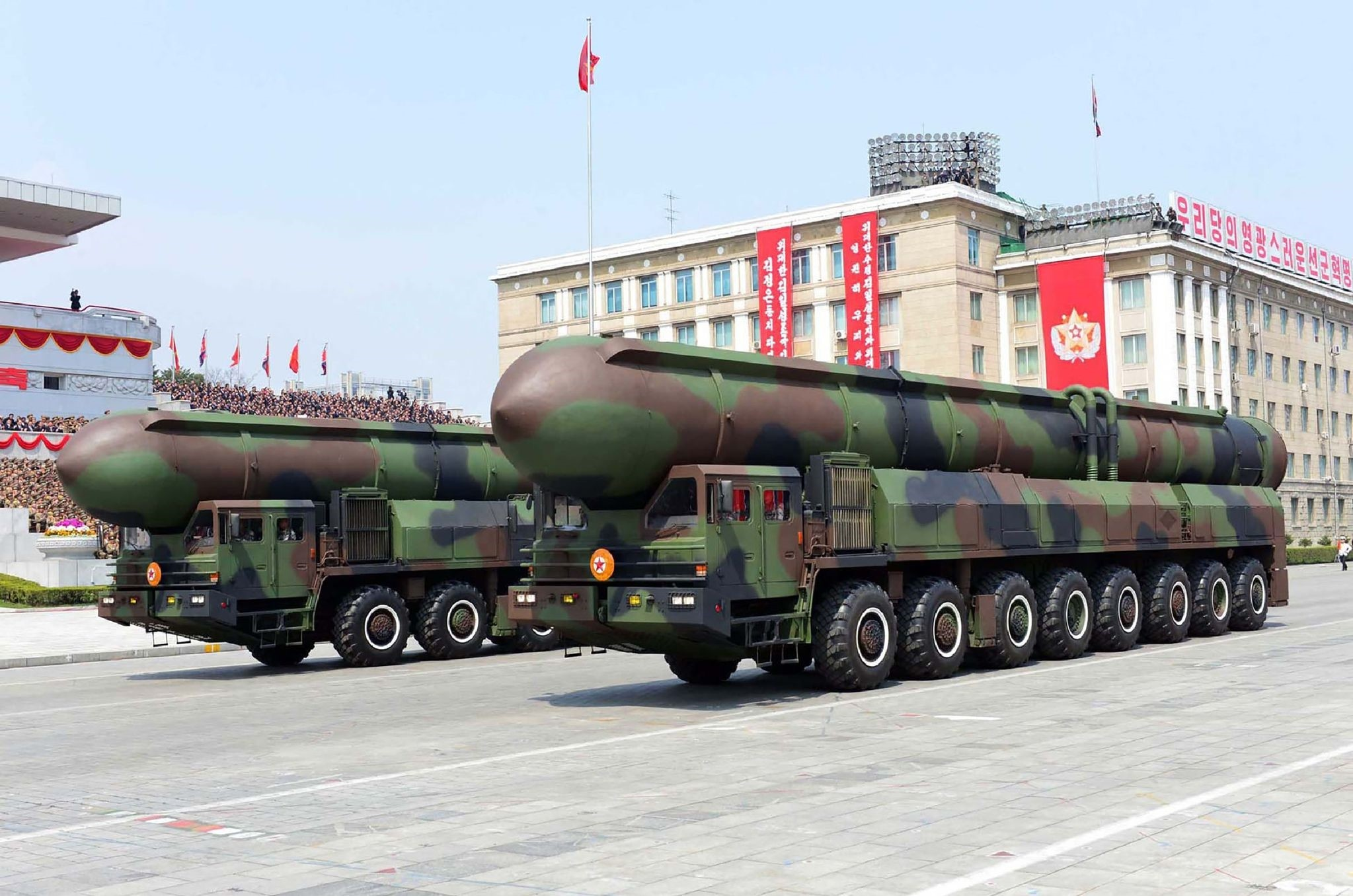 This April 15, 2017 picture released from North Korea's official Korean Central News Agency on April 16, 2017 shows Korean People's ballistic missiles being displayed through Kim Il-Sung square during a military parade in Pyongyang. (AFP Photo)