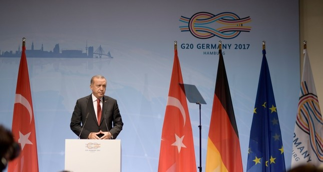 President Erdoğan speaks at the closing press conference of the G20 Summit in Hamburg, July 8.