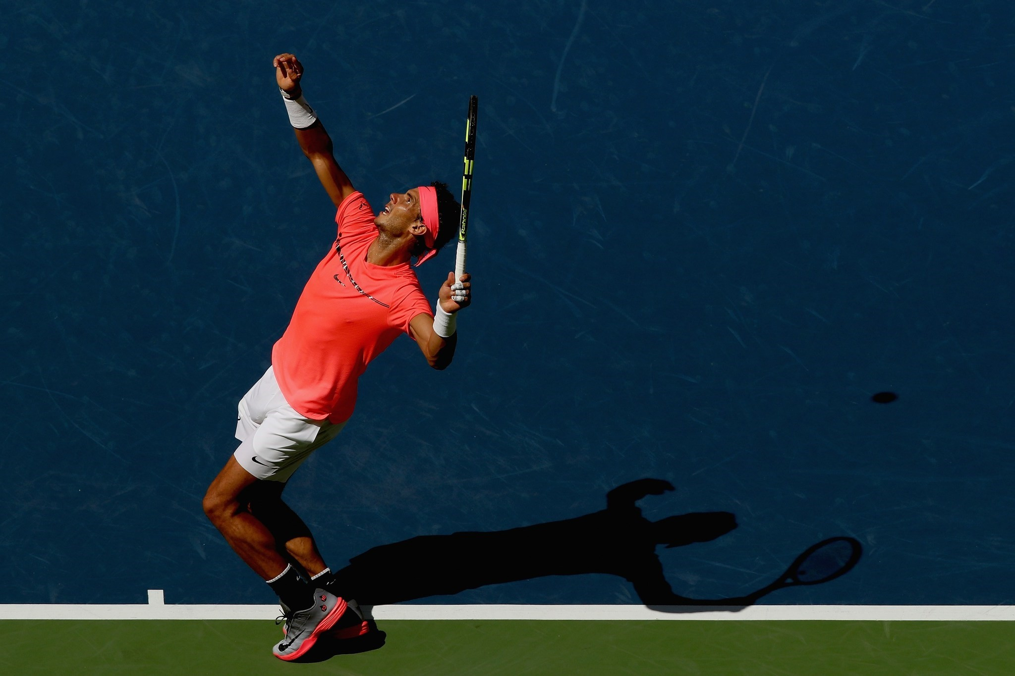 Rafael Nadal serves against Alexandr Dolgopolov of Ukraine during their fourth round Menu2019s Singles match on Day Eight of the 2017 US Open at the USTA Billie Jean King National Tennis Center.