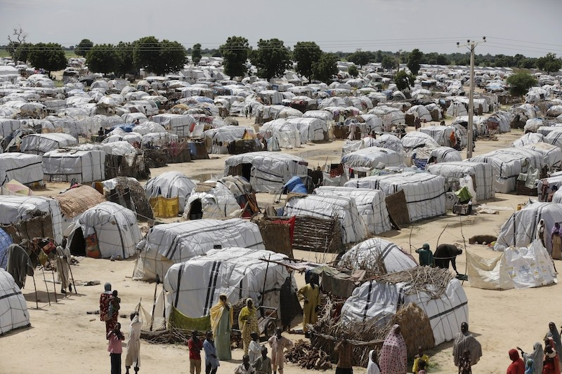 Four female suicide bombers struck near a refugee camp hosting thousands of people who have been displaced by Boko Haram in Nigeria's north-eastern city of Maiduguri. (AP Photo)