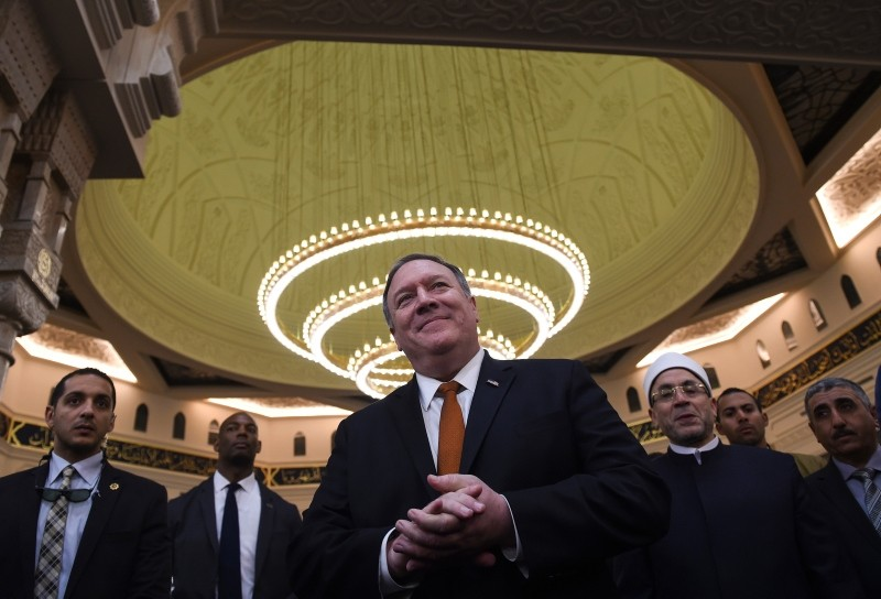 US Secretary of State Mike Pompeo speaks to the press in the newly inaugurated Al-Fattah Al-Alim Mosque, in Egypt's New Administrative Capital, east of Cairo, Thursday,  Jan. 10, 2019. (AP Photo)