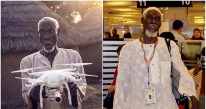 """pAl-Hassan Abdullah, ein armer ghanaischer Dorfbewohner, dessen Geschichte sich auf den türkischen Sozialmedien in Kürze verbreitete, als er eine TV-Crew fragte, ob """"eine Drohne ihn nach..."""