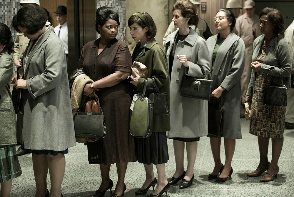 This image released by Fox Searchlight Pictures shows Sally Hawkins, center, and Octavia Spencer, second left, in a scene from the film ,The Shape of Water., (Fox Searchlight Pictures via AP)