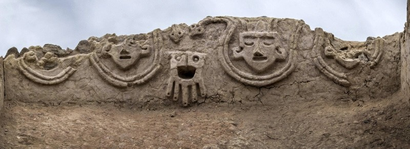 A handout photo made available by the Archaeological Zone of Caral shows a new wall with reliefs of some 3,800 years old, which has been discovered in the ruins of Vichama, Peru. (EPA Photo)