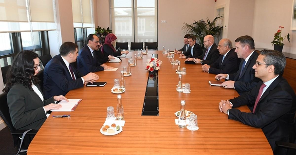 Presidential Spokesman Ibrahim Kalu0131n (3rd L) receives US special envoy to Afghanistan, Zalmay Khalilzad (3rd R), at the Presidential Complex in Ankara, Turkey on Feb. 21, 2019. (AA Photo)